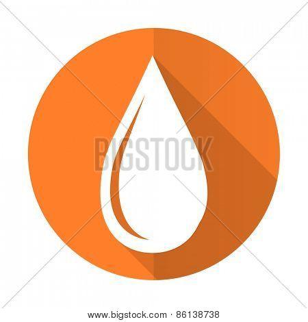 water drop orange flat icon