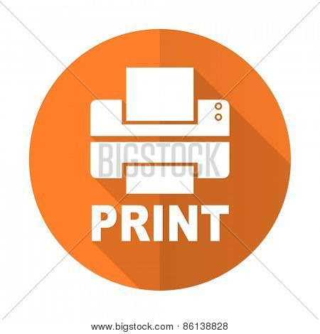 printer orange flat icon print sign