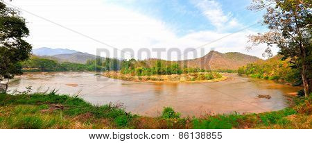 Big Bend On River Thailand Landscape Panorama