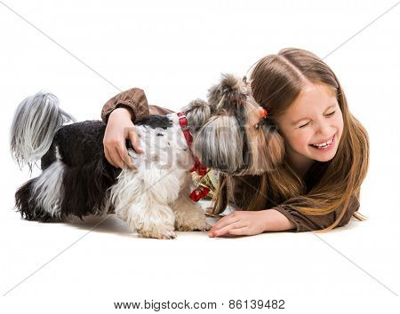 little girl is with her dog Yorkshire Terrier isolated on white background