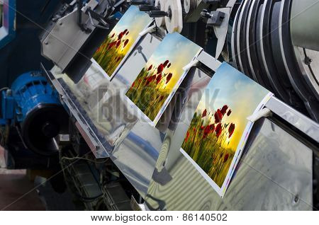 Magazine production line in print shop