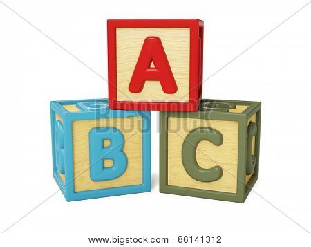 ABC alphabet wooden building blocks with letters isolated on white