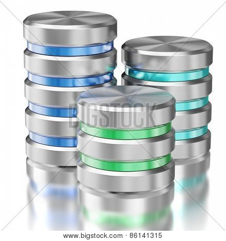 Hard disk drive data storage database icon symbols isolated with reflection