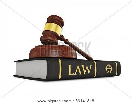 Law justice concept - wooden judge gavel on law book isolated on white background