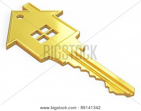 House safety rent real estate purchase concept - house shaped gold key isolated on white