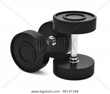 Professional grade poly urethane rubber coated dumbbels with chrome handles isolated on white. 3d render