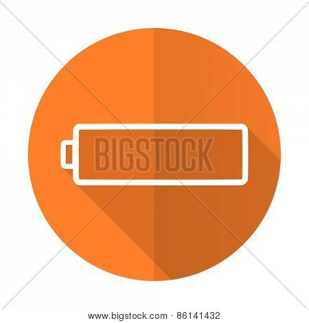 battery orange flat icon charging symbol power sign
