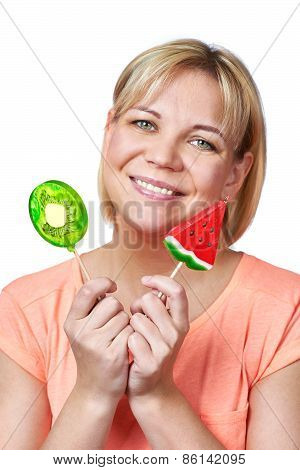 Happy Girl With Lollipop Watermelon And Kiwi Fruit