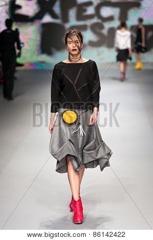 ZAGREB, CROATIA - MARCH 21, 2015: Fashion model wearing clothes designed by Marina Design on the 'Fashion.hr' fashion show