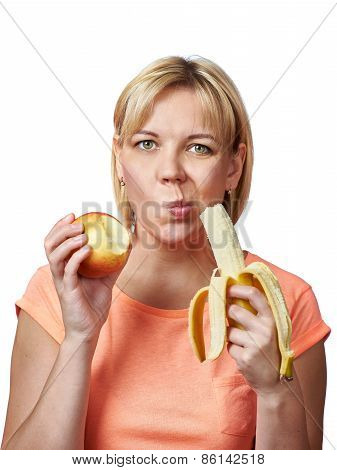 Happy And Healthy Woman With Banana And Apple