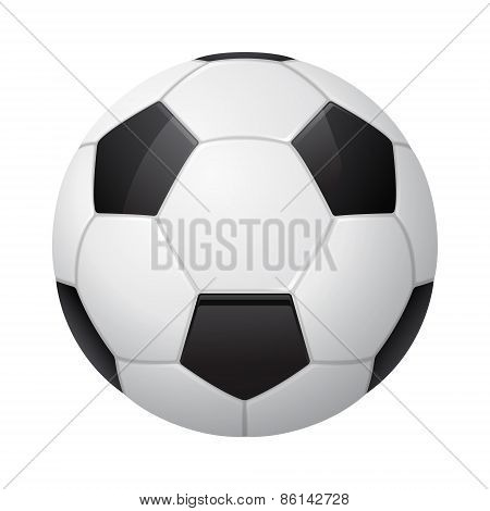Three-dimensional Vector Soccer Ball Isolated On White.