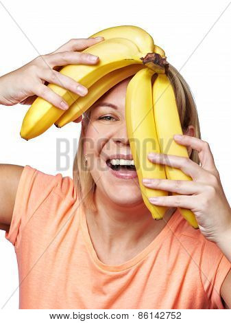 Happy And Healthy Woman With Bananas