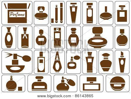 Perfumery Icons On White