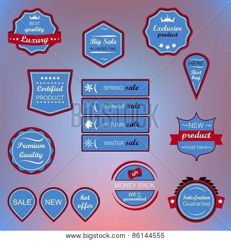 Set of blue vector icons, badges and labels