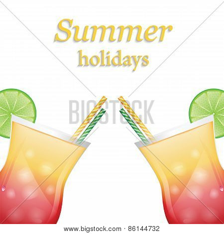 Summer Fruit Cocktails With Ice And Lime Isolated On White Background