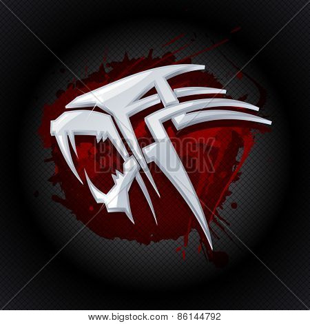 Steel tiger head against drop of blood art logo template.