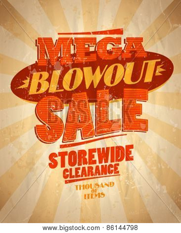 Mega blowout sale design in retro style. Eps10
