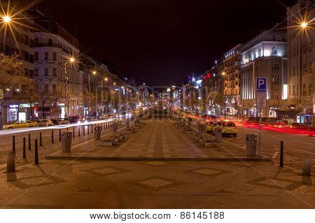 Wenceslas Square. Prague At Night.