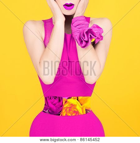 Surprise Fashion Lady In A Crimson Color Style. Spring, Flowers, Roses