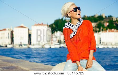 Happy Stylish Blonde On Vacation. Travel. Marine Style Fashion