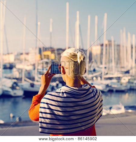 Stylish Girl. Summer Vacation. Travel. Marine Style