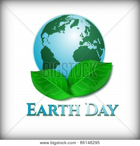 Postcard On April 22 - Earth Day. Globe With Green Leaves