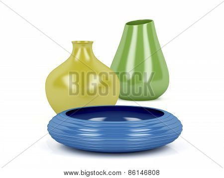 Colorful Vases And Bowl