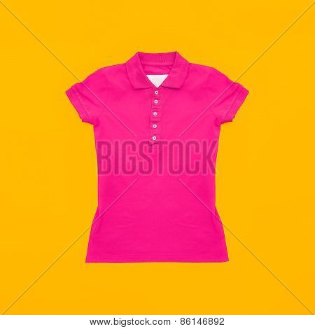 Bright Crimson Polo Shirt On Yellow Background. Fashion Bright Summer
