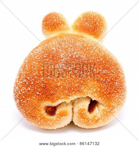 Sweet Roll Bun With Raisin Isolated On A White