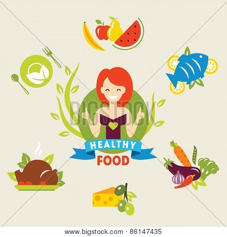 Diet. Choice of girls. Healthy lifestyle. Vector flat
