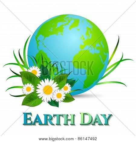 Postcard On April 22 - Earth Day. Globe With Grass And Camomiles On White