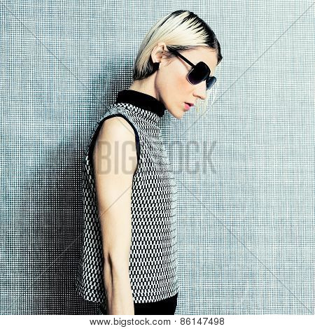 Portrait Stylish Blonde In Fashionable Clothes. Ornament Trend