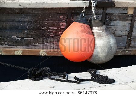 Rubber Buoys For Protecting Moored Yachts In Marina