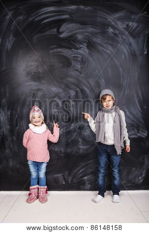 Beautiful Children On A Gray Background