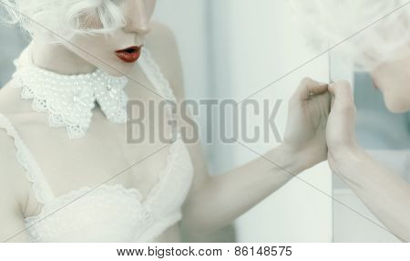 Sensual Blond Woman. Reflection In The Mirror. Necklace. Underwear. Luxury Style.