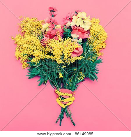 Flowers Bouquet On Pink Background. , Holiday, Love, Women's Day.