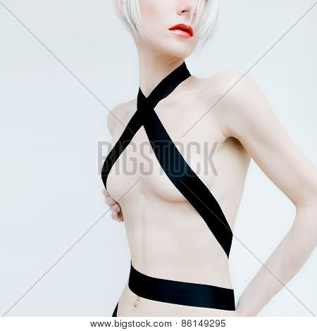 Sensual Sexy Blond Model In Black Satin Ribbon