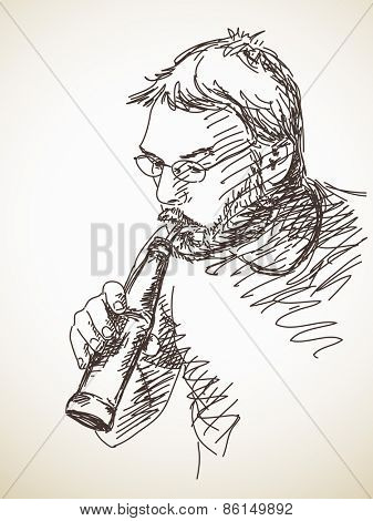Sketch of drinking man Hand drawn illustration