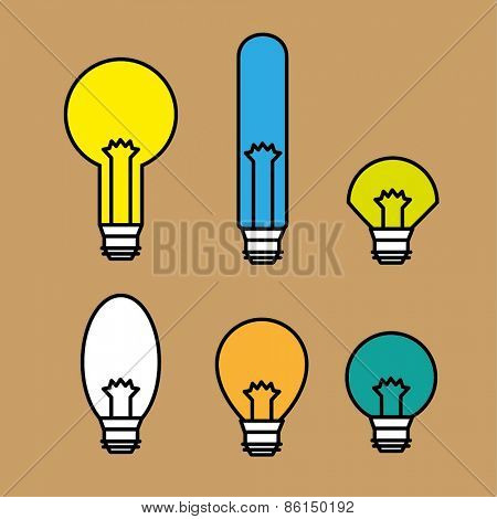 Set bulb  line  icons, vector illustration