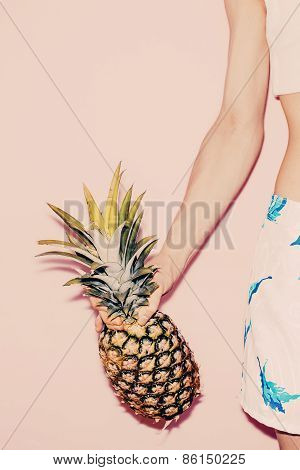 Tropical Summer. Fashion Girl With Pineapple. Vanilla Style