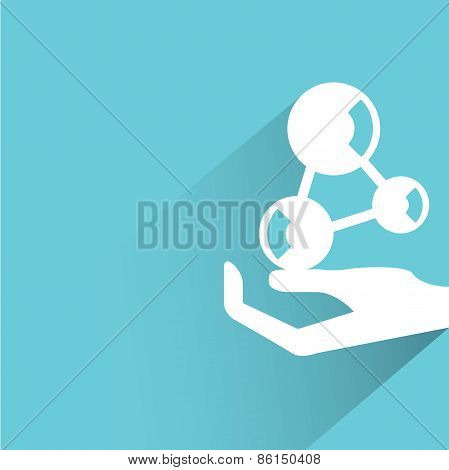 hand holding atom