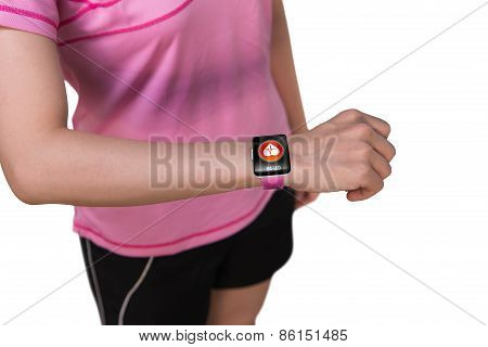 Sport Woman Wearing Smartwatch With Health Sensor On White Background