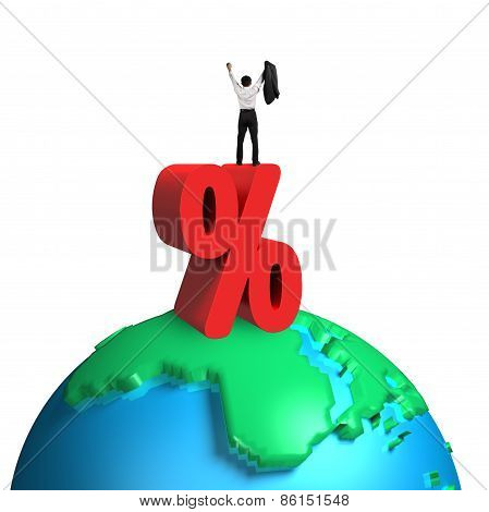 Cheering Businessman Standing On Red Percentage Sign And 3D Globe