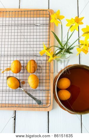 Dyeing Easter Eggs Natural Way With Turmeric For Mustard - Yellow Color.