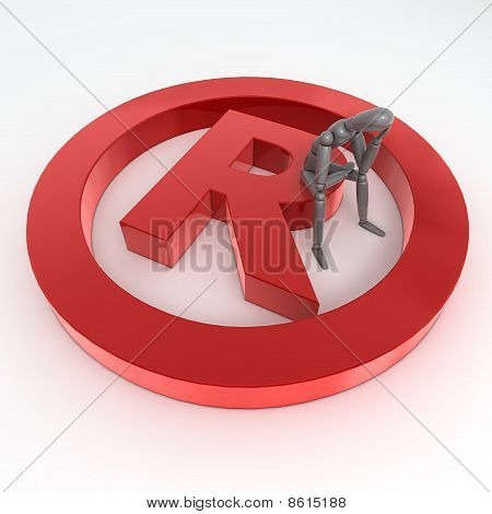 Sitting On A Red Shiny Registered Trademark Symbol