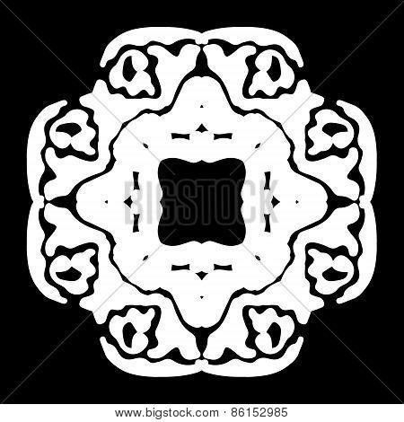 Abstract ornament, stencil round pattern, cut out design, decor element, vector illustration