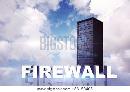 firewall against blue sky with white clouds