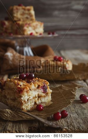 Slices Of Cake With Cranberries