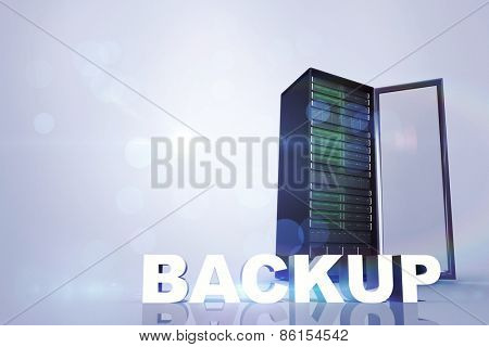 backup against server tower