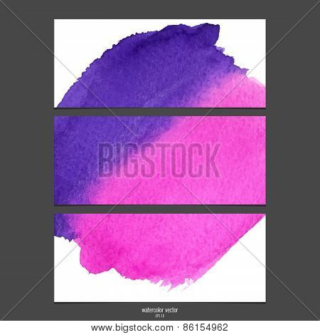Watercolor vector banners pink and purple .